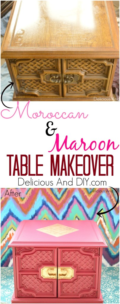 Moroccan And Maroon Table Makeover| Maroon Table |Home Decor |Table Makeover| Bright Colored Furniture |Stenciled Furniture| Painted Furniture|