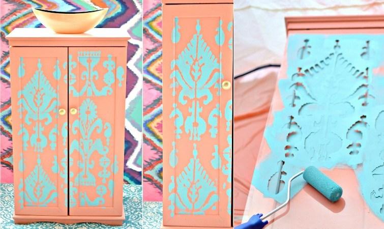 Storage Cabinet Makeover Using Ikat Stencil