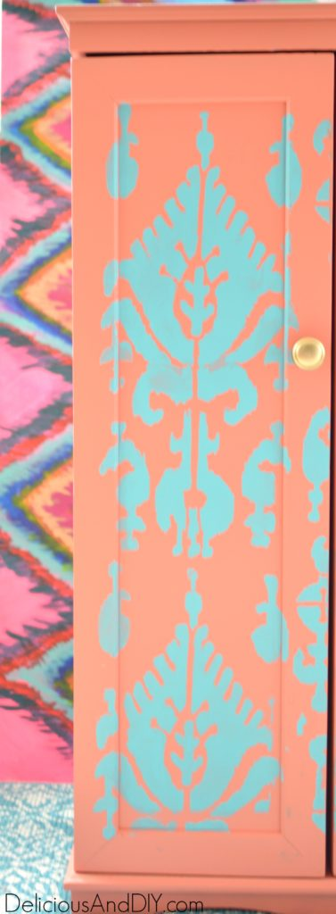 Ikat Storage Cabinet Makeover- Delicious And Gorgeous Ikat Cabinet Makeover using bright colored paints and a stencil| Home Decor| Painted Furniture| DIY Projects| Stenciled Projects| Furniture Makeover| Repurposed Furniture| Ikat Pattern