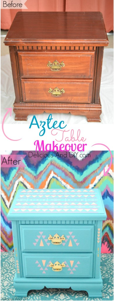 Aztec Table Makeover - Delicious And DIY