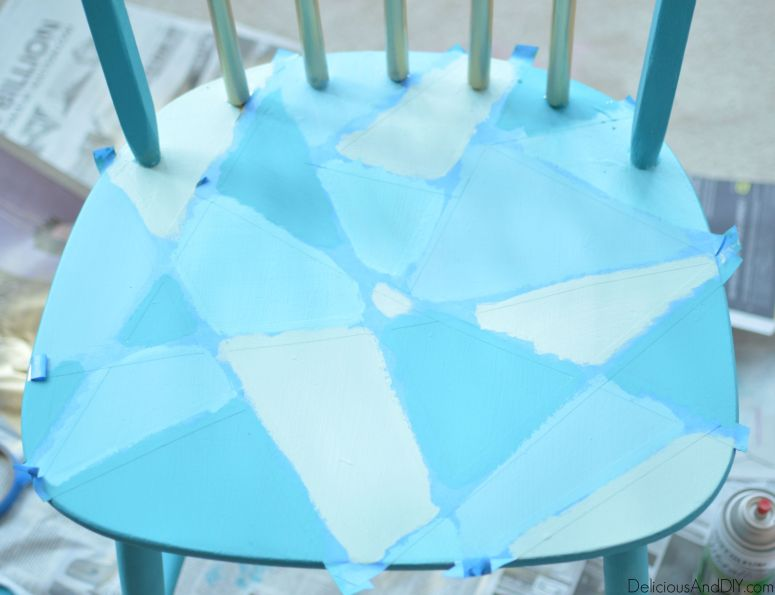 Geometric painted chair| Hand painted chair makeover| Recycle Old Chair Ideas