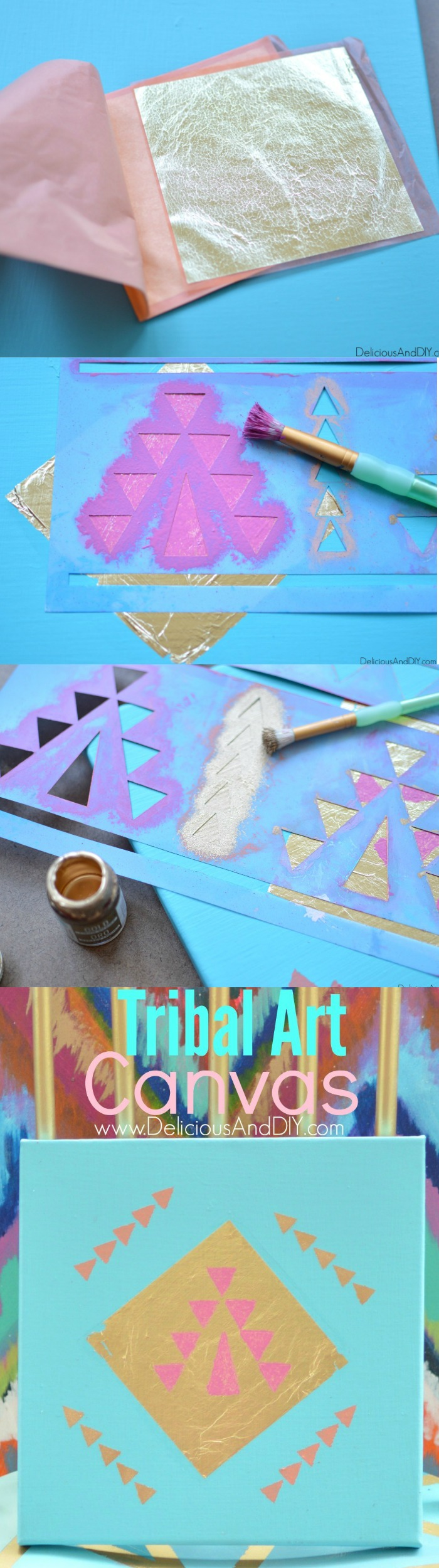 DIY Tribal Art Canvas made using Gold Leaf and a gorgeous Aztec Stencil| Home Decor| Wall Art Ideas| Gallery Wall Ideas| Tribal Art| Handpainted Canvas| Stenciled Art