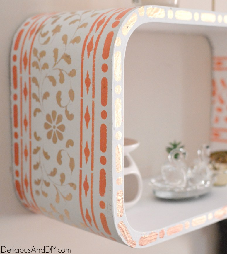 Stencilled Wall Shelf Makeover - Delicious And DIY