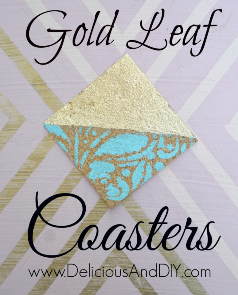 Make fun little coasters using Cork Board and some Gold Leafing and create these unique Half Gold and Half Stenciled Coasters| DIY Crafts| Coaster Ideas| Hand painted| Stenciled projects| Home Decor| DIY Crafts| Cork Board Ideas| Crafty Ideas| Gift Ideas