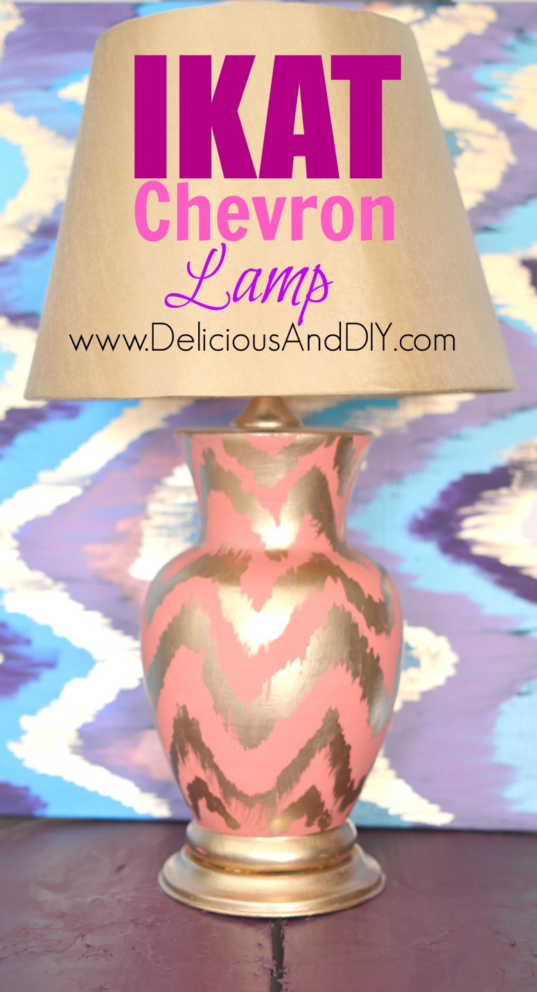 Learn how to create this gorgeous Ikat Chevron Lamp using only two things| Home Decor| Repurposed Furniture| Lamp Makeover Ideas| Ikat Chevron Lamp| Coral Color Lamp| Gold Ikat Pattern