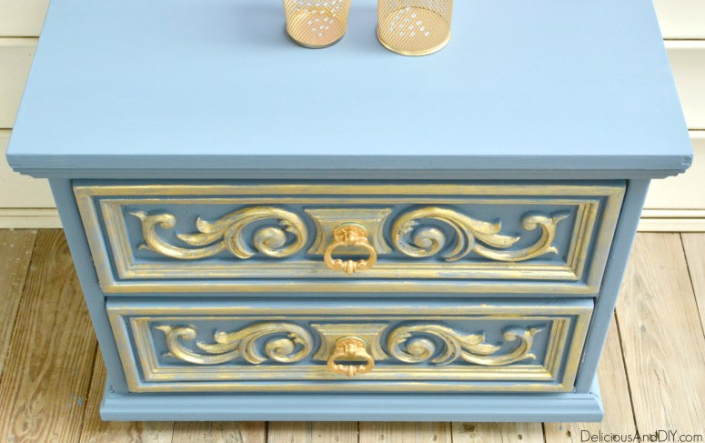 Gold And Grey Nightstand Makeover| Home Decor| Upcycled Furniture| Cottage Chic Furniture Makeover| Distressed Shabby Chic Makeover| Repurposed Furniture Makeover