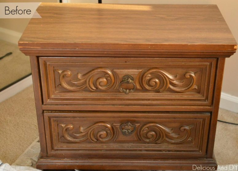 Gold And Grey Nightstand Makeover - Delicious And DIY