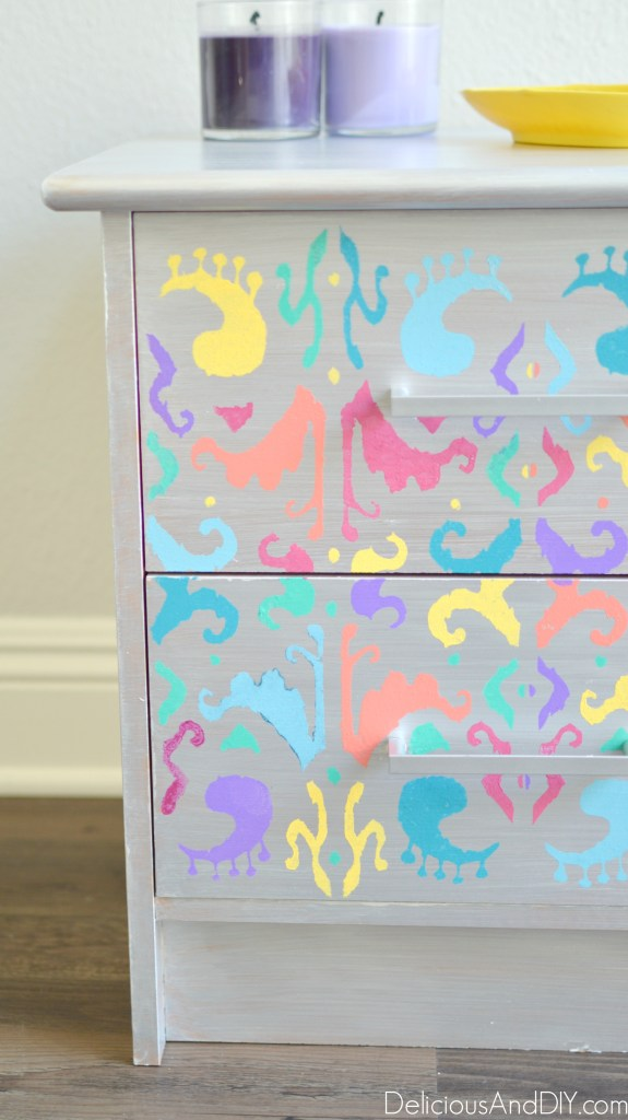 Multicolored Ikat Nightstand - Delicious And DIY