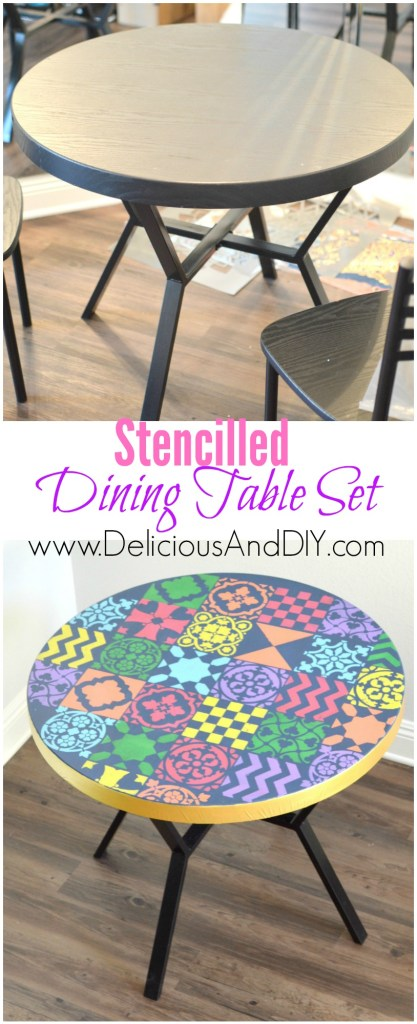 Stencilled Dining Table Set - Delicious And DIY