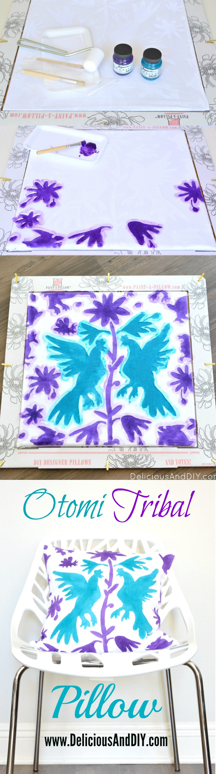 Learn how to create this gorgeous pattern onto your pillow in a few simple steps| Home Decoration| Throw Pillow Updates| Painted Pillow| Stenciled Pillow| Otomi Pattern| Purple and Teal Decor