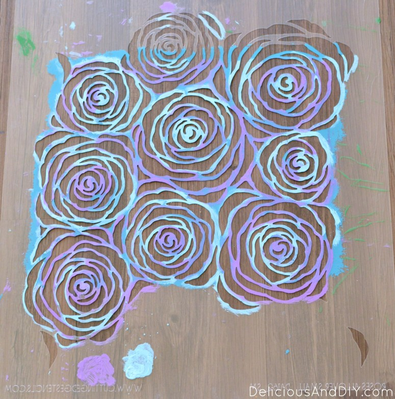 Roses Allover Canvas Art. Stencil Wall Art. Gallery Wall Ideas, Canvas Painting. Home Decoration Ideas. Painted Art. Roses Wall Art