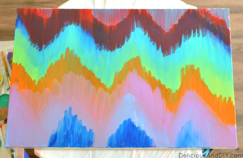How To Paint An Ikat Chevron Canvas Art - Delicious And DIY