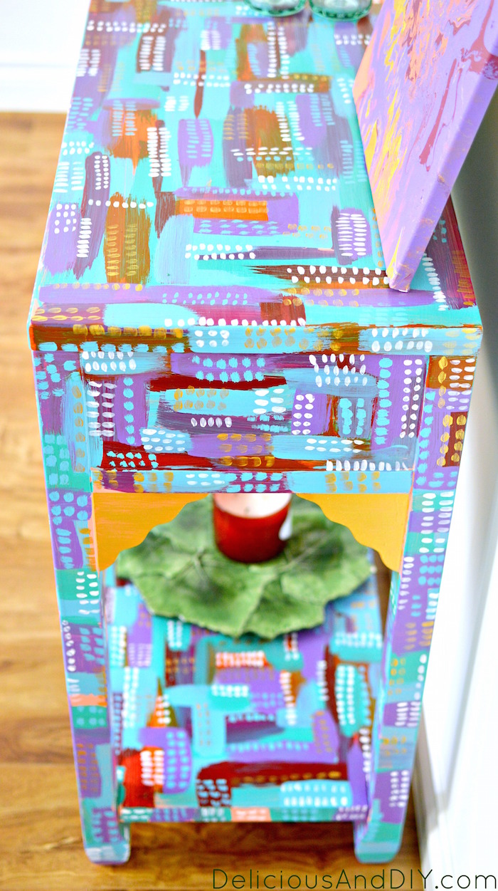 Create a gorgeous almost art like furniture piece in a few simple steps. You don't need to be an artist to create this masterpiece  Home Decor  Painted Furniture  Abstract Art  Before and After  Hand painted furniture  Colors  Console Table Makeover  Console Table Ideas