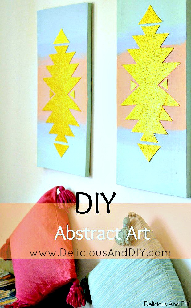 DIY Abstract Wall Art. Southwestern Inspired Wall Art. Card stock Projects. Glitter Art. Gallery Wall Ideas. Canvas Art