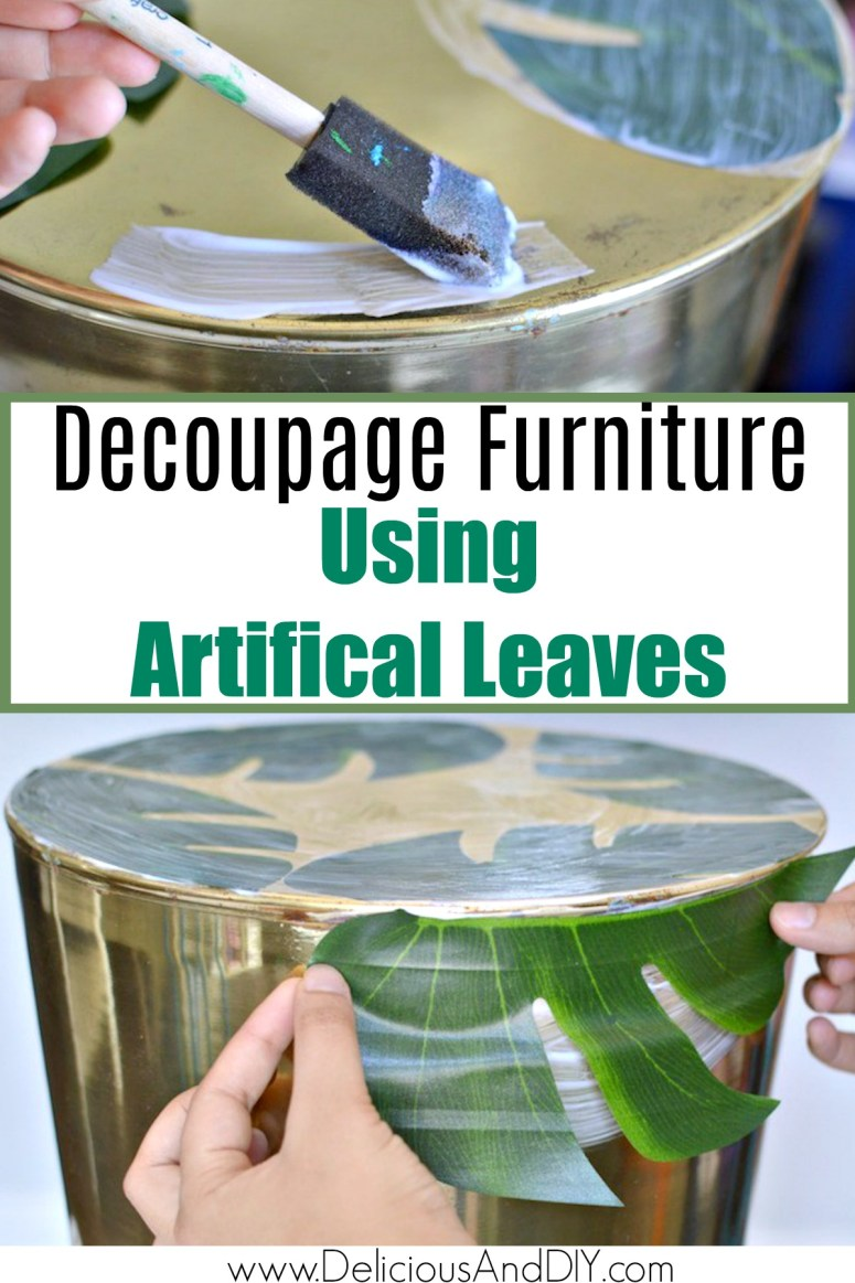 Decoupaging a table using artificial leaves