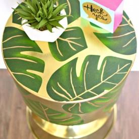 Decoupaged Palm Leaf Gold Table