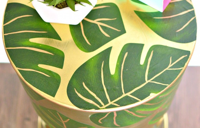 Decoupaged Palm Leaf Gold Table