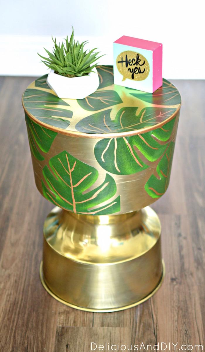 Palm Leaf Table  Palm Leaf Furniture  Modge Podge Projects  Gold Table Decor  Home Decor  Decoupaged Table Decoupaged Projects Palm Leaf Table