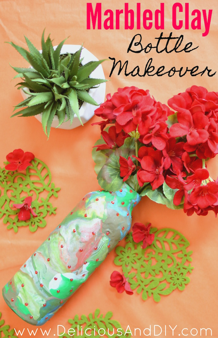 Marbled Clay Bottle| Marbled Projects| Recycle Bottles|Oven Bake Clay Project| Polymer Clay| Repurpose| Clay Project| DIY Crafts