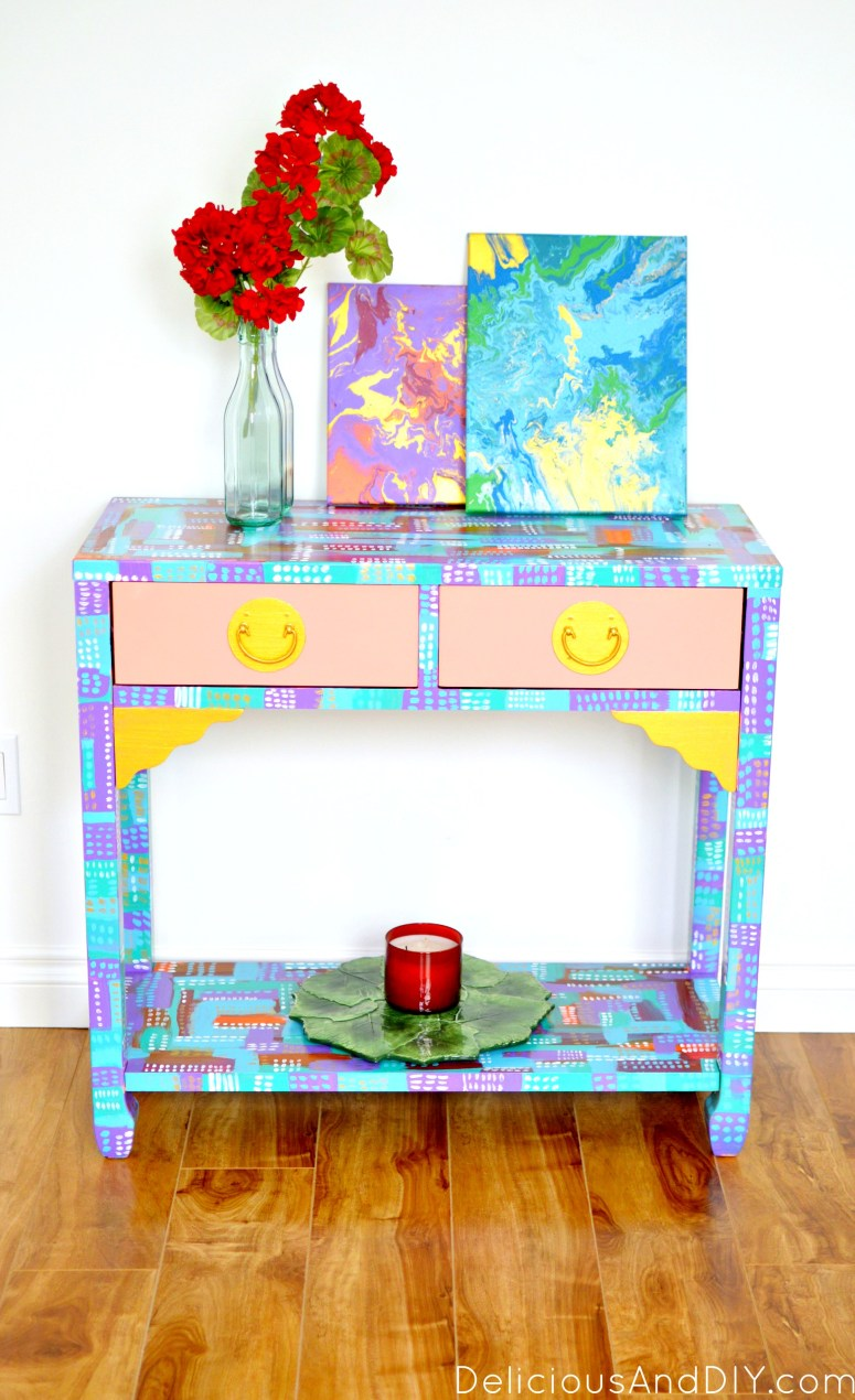 colorful and bright console table