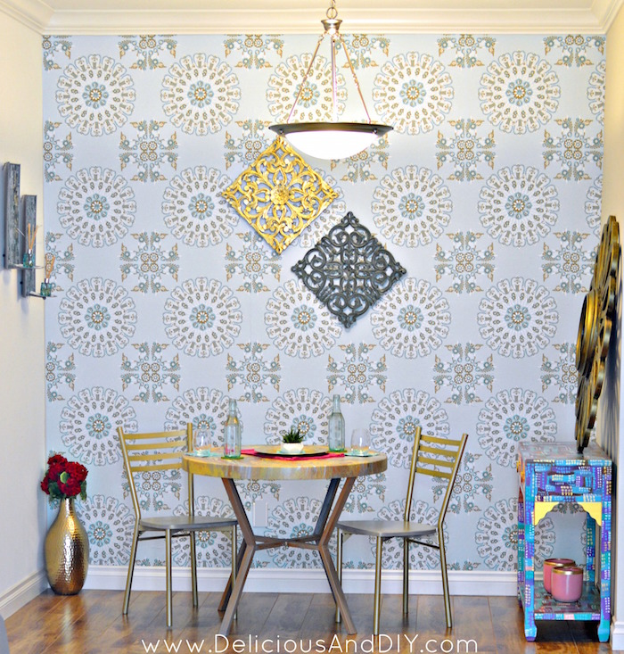 DIY Budget Friendly Dining Room Makeover  Dining Room Reveal  Removable  Wallpaper  DIY Wallpaper. Dining Room Reveal Part 1   Delicious And DIY