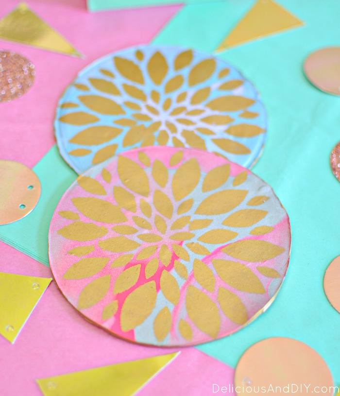 DIY Clay Flower Coaster| Stenciled Coaster| Easy DIY Coaster Ideas| Flower Coaster Ideas| DIY Crafts| Handmade Coaster Ideas| Budget Friendly Craft Projects| Home Decor Ideas| Clay Coaster