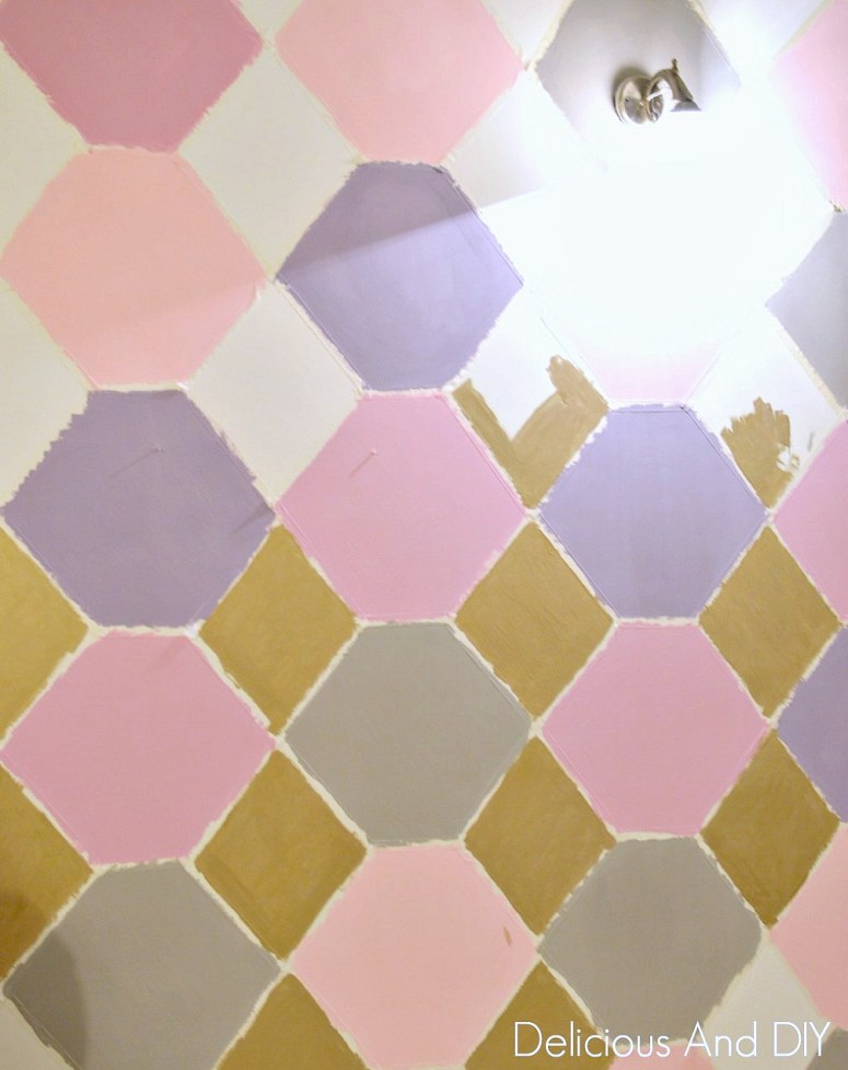 Hexagon Feature Wall| Feature Wall Ideas| Painted Wall| Masking Tape Wall Ideas| Pastel Shade Wall| Feature Wall| Before and After| Room Reveal