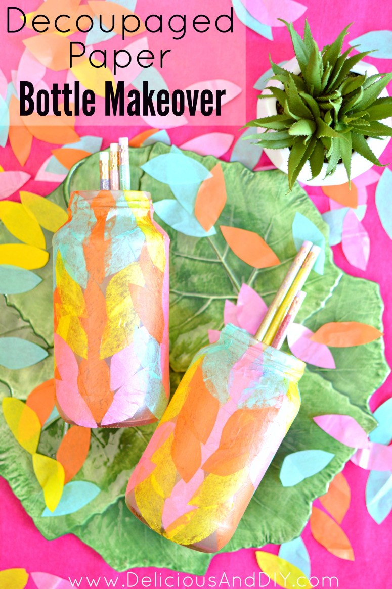 Colored Tissue Paper Ideas, Bottle Makeover Ideas, Tissue Paper Bottle Makeover Ideas, Decoupaged Bottle Makeover, Recycle Old Bottles Project, DIY Bottle Makeover, DIY Craft Ideas, Decoupage