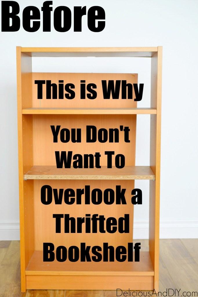 thrifted bookshelf