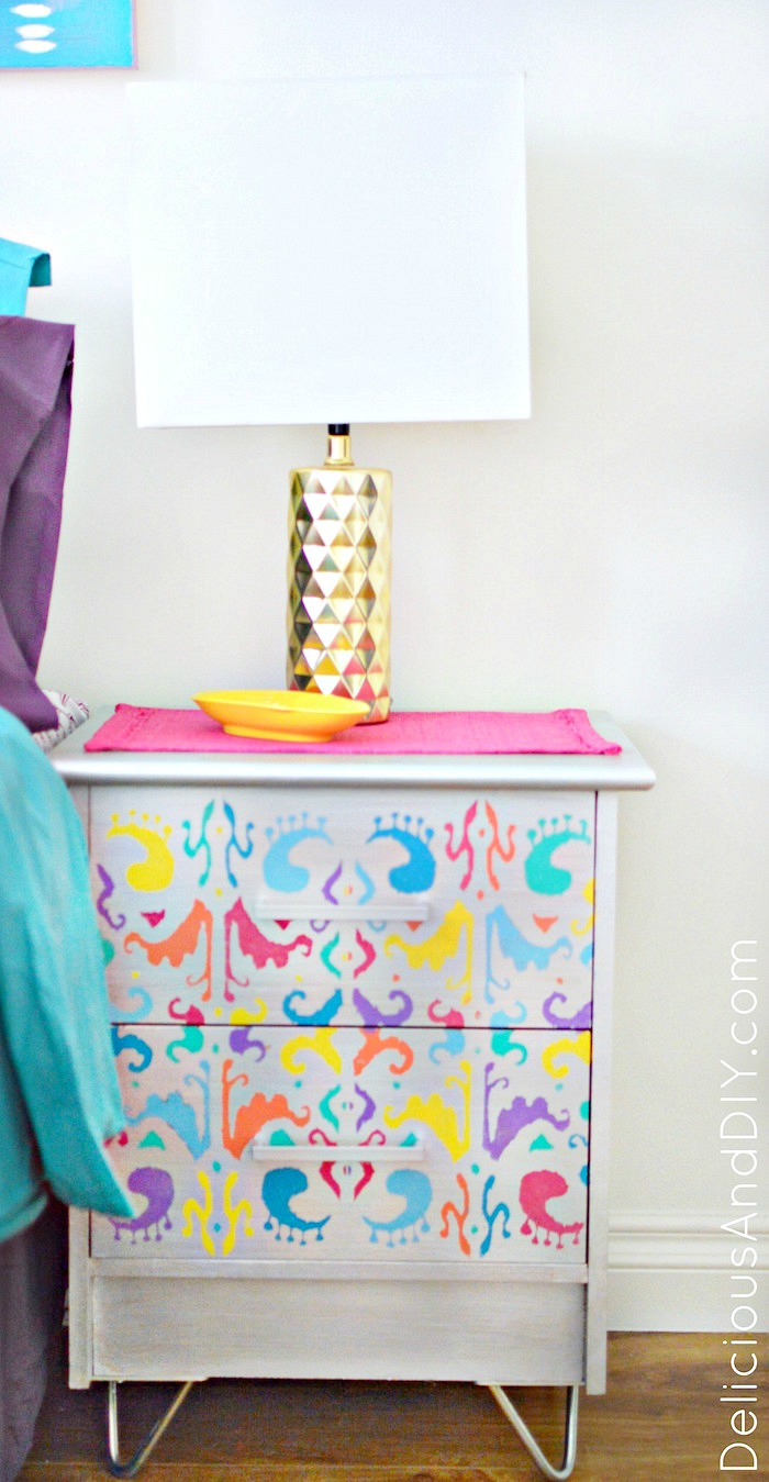Give your Old Nightstands a stunning makeover using an Ikat Stencil and Hairpin Legs| Tranform old furniture using Hairpin Legs| Before and After| Painted Furniture| Home Decor| Thrift Store Furniture Upgrade| Before and After| Nightstand Ideas