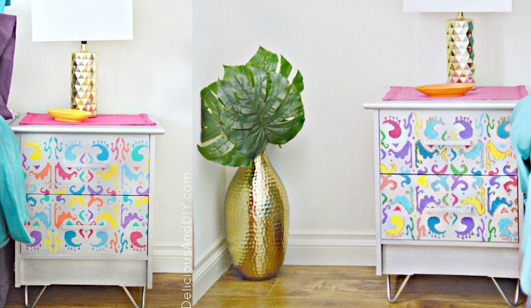 Ikat Hairpin Leg Nightstand