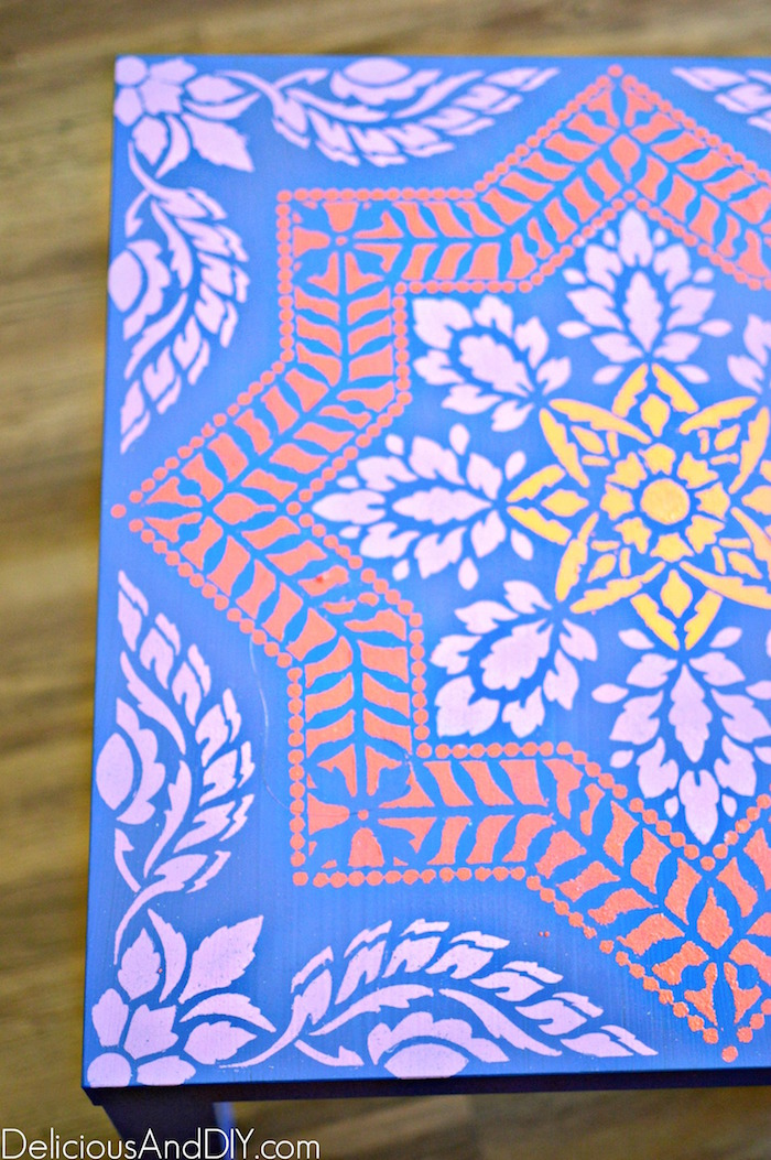 Stenciled Ikea Lack Table Hack  Stenciled Projects Nightstand Update Ideas Painted Furniture Before and After Moroccan Stenciled Lack Table  Ikea Lack Table Hacks IKEA Hacks  Home Decor  DIY Crafts Stenciled Projects