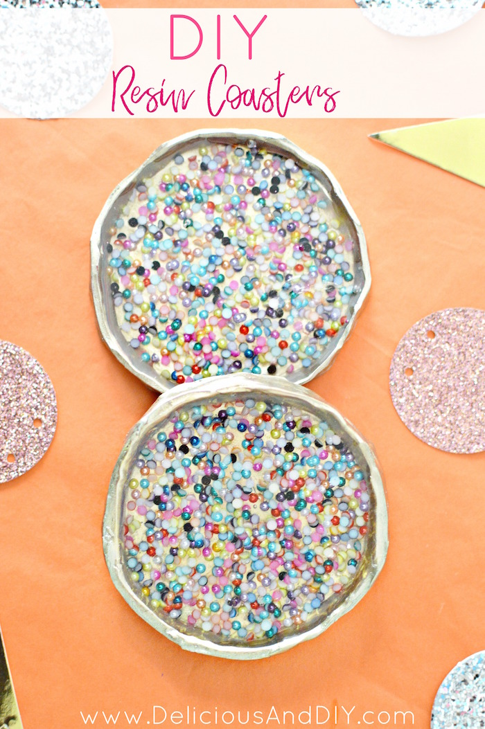 Make these gorgeous Resin Coasters filled with colored beads| DIY Craft Projects| Home Decor| Coaster Ideas| Beaded Resin Coasters| Resin projects| Gold Coasters| Oven Bake Clay Coasters| Gift Ideas| DIY Budget Friendly Craft Ideas| Colorful Coasters