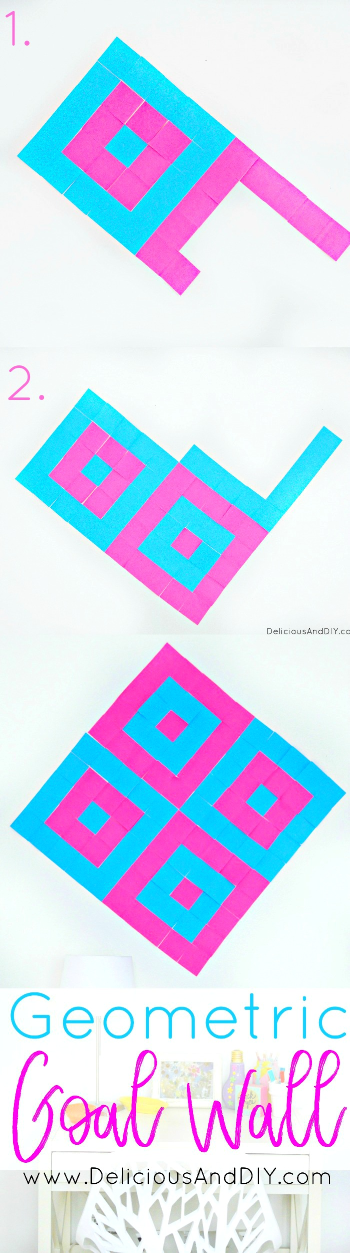 Create a fun Geometric Wall to keep you motivated to set and achieve your goals for the year| Post- It Wall Goal Wall| DIY Crafts| Goal Wall Ideas| Organizing and Goal Setting Wall| Post-It Crafts Wall| Post-It pattern| Organizing Wall|