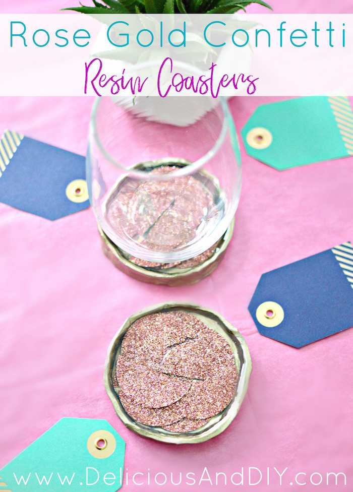 Circular Clay Coasters filled with confetti and Resin