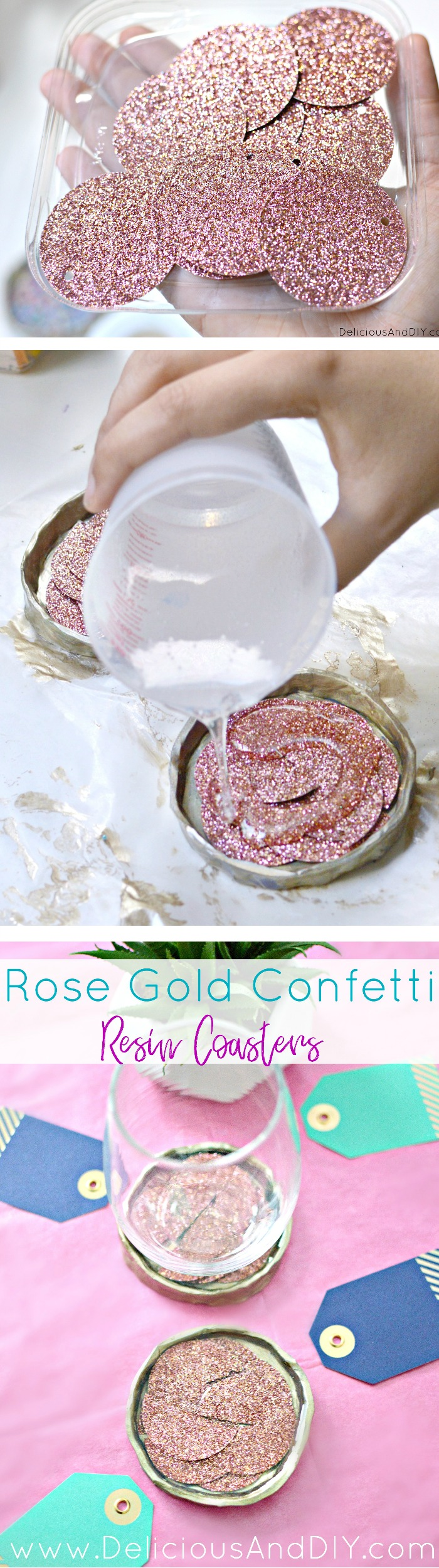 Create these Rose Gold Resin Confetti Coasters which are great for the holidays or home decor and even perfect as gifts| Home Decoration| DIY Crafts| Coaster Ideas| Resin Coaster DIY| Confetti Coasters| Confetti Crafts| Glitter Resin Coasters| Handmade Coaster| Rose Gold Decoration| Gift Ideas for Holidays| Oven Bake Clay Projects| Oven Bake Clay Crafts