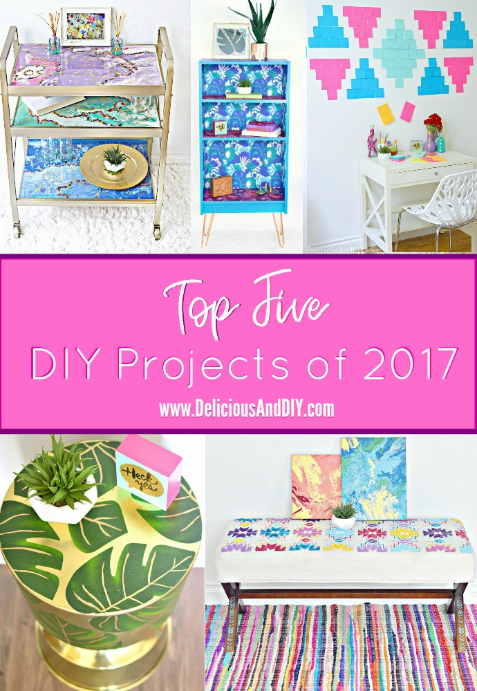 Round Up of The Most Popular DIY Projects of 2017| Hand Painted Furniture Makeover| Decoupaged Furniture| Copper Hairpin Legs| Bookshelf Makeover| Southwestern Pattern| Post It Projects| Marbled Paint Technique| Dirty Pour| Drip Art| Resin Art