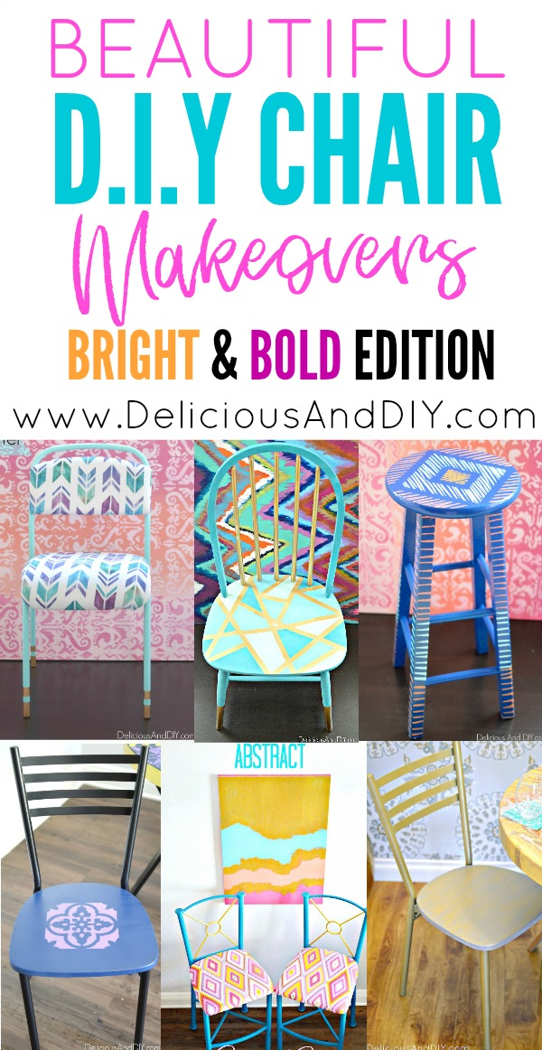 These Bright and Bold DIY Chair Makeovers will surely brighten up any space| Fun Chair Makeover Ideas, DIY Chair Makeover Ideas, Home Decor, Seat Makeover Ideas, Painted Chairs, Reupholstered Chair Makeover Ideas, Upcycled Chair Ideas, Repurposed Furniture