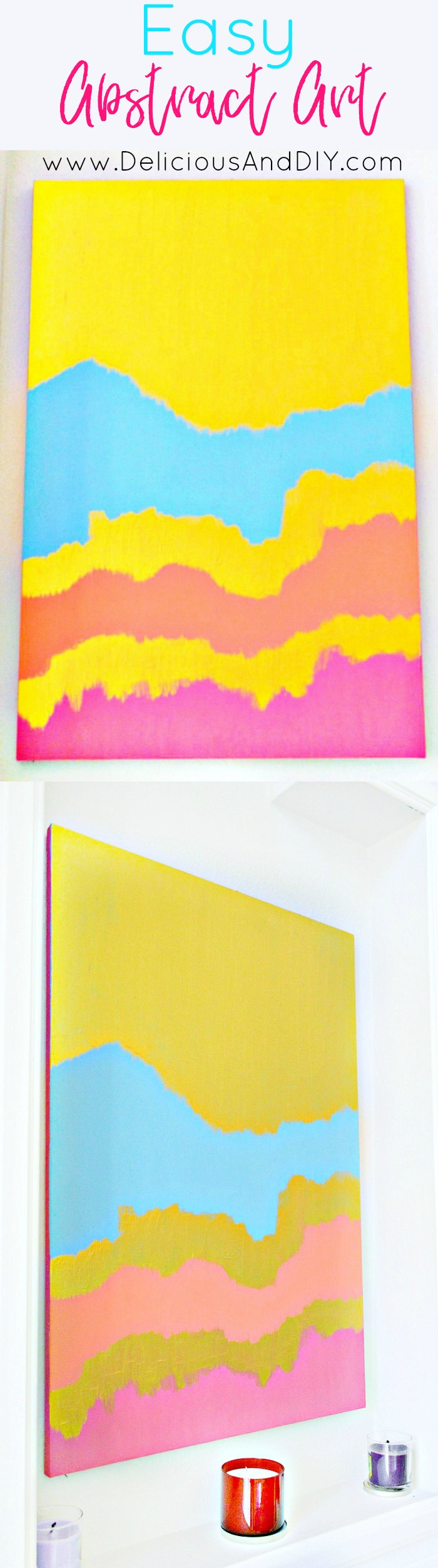 Create a gorgeous Abstract Wall Art in a few simple few steps| Gorgeous Bright Colored Wall Art| Abstract Art| Canvas Wall Art| DIY Hand painted Wall Art| Gallery Wall Art Idea| Home Decor| DIY Crafts| Gold Abstract Wall Art| Large Wall Art Canvas