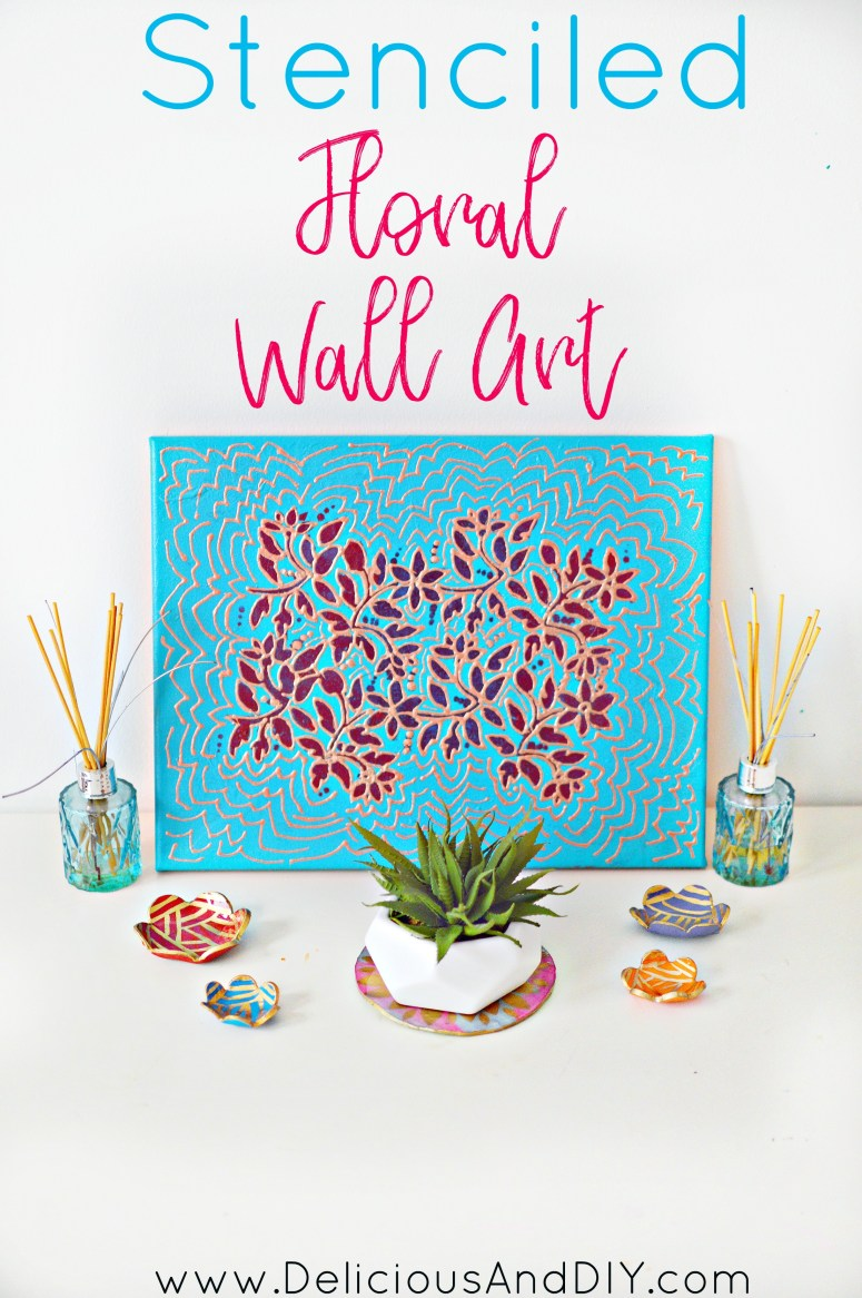 Create a gorgeous Floral Wall Art which perfect for the spring season  DIY Wall Art  Canvas Art  Home Decor  Wall Painting Ideas  Painted Projects  Floral Wall Art  Stenciled Floral Wall Art  DIY Crafts  Flower Wall Art 