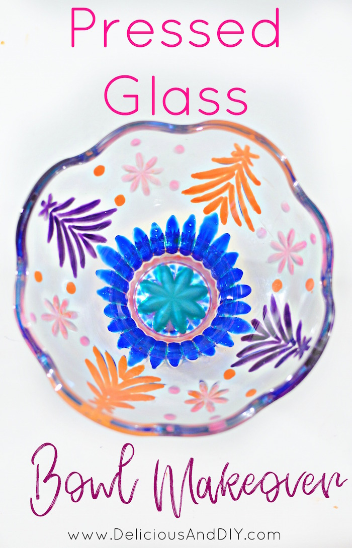 Give those dated Glass Bowl an instant makeover using colorful glass paints| Glass Bowl Makeover| Home Decor| DIY Crafts| Glass Paint Bowl| Trinket Bowl Updated| Dated Glass Bowls Upcycled| Recycled Bowls| Dollar Store Crafts| Recycled Jars| Handpainted Bowls