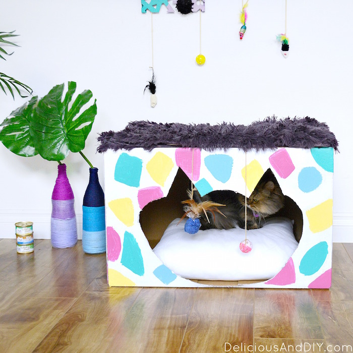 #ad Want to give your Cat Corner a Fun and Vibrant makeover then why not create this colorful Cat House using a few simple craft supplies and TIDY CATS® Free & Clean™ Unscented Clumping Litter! Terrazzo Inspired Cat Box Makeover | Colorful and Funky Cat Room Makeover| #shop|#FreeandCleanLiving| Room Reveals| DIY Cat Room Makeover| Budget Friendly Pet Makeover