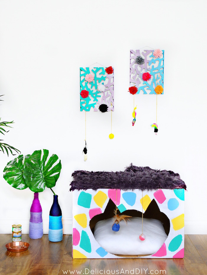 #ad Want to give your Cat Corner a Fun and Vibrant makeover then why not create this colorful Cat House using a few simple craft supplies and TIDY CATS® Free & Clean™ Unscented Clumping Litter|Terrazzo Inspired Cat Box Makeover | Colorful and Funky Cat Room Makeover| #shop|#FreeandCleanLiving| Room Reveals| DIY Cat Room Makeover| Budget Friendly Pet Makeover