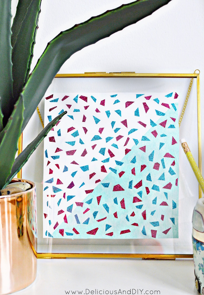 Learn how to create an easy but stunning DIY Terrazzo Wall Art with just Washi Tape in less than thirty minutes| DIY Terrazzo Inspired Wall Art| Geomteric Wall Art| Affordable Wall Art| Washi Tape Wall Art