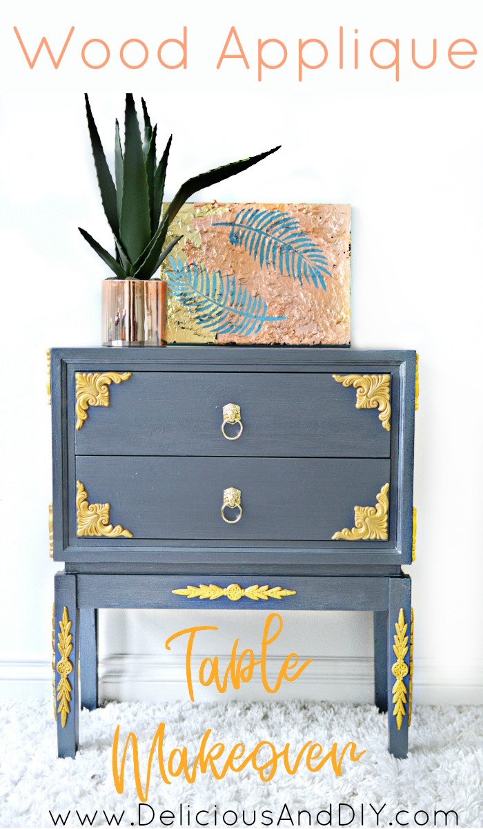 painted furniture makeover gold metallic. Create This Gorgeous Table Makeover Using Wood Appliqués| DIY Painted Furniture Makeover| Gold Metallic