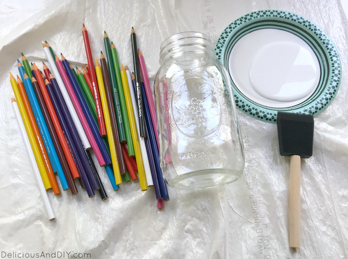 mason jar and stationery needed to create pencil vase for teacher gift ideas
