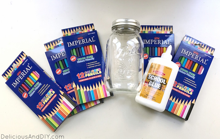 Supplies needed to create diy pencil vase for teacher gift ideas