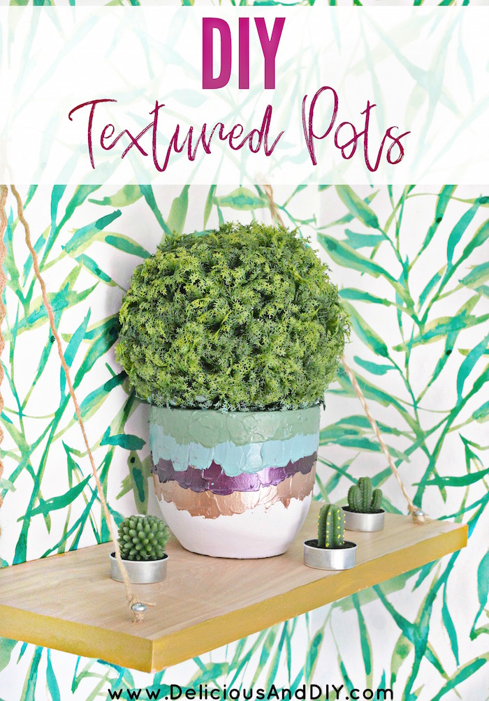 DIY dollar store textured pots