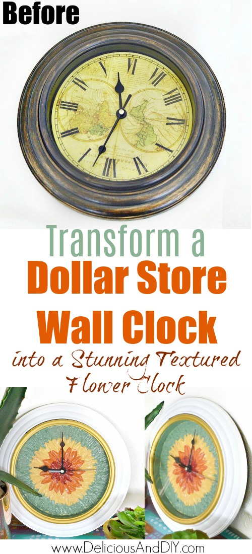 before and after makeover of a dollar store wall clock