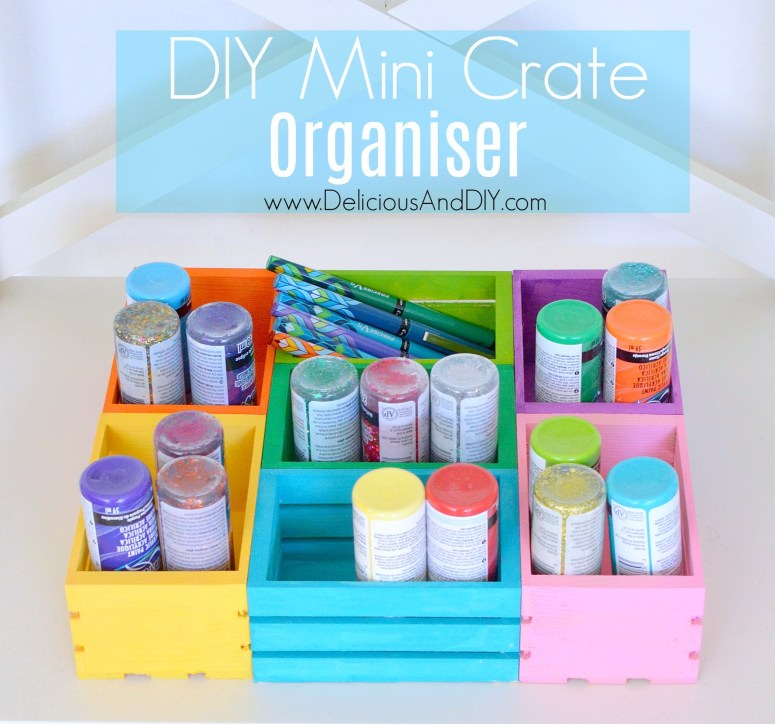 Create a colorful organizer using mini crates, perfect for storing craft supplies, office supplies or if you are using it in the kitchen as a spice organizer| Colorful Mini Crate organizer| Mini Crate Storage Ideas| DIY Mini Crate Project Ideas